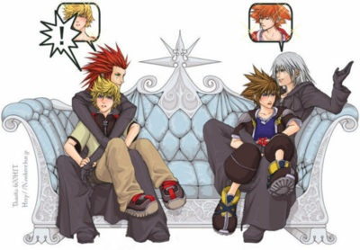 Oh look, the two cutest couples (Axel/Roxas and Riku/Sora) in all of Kingdom Hearts arguing with one another.