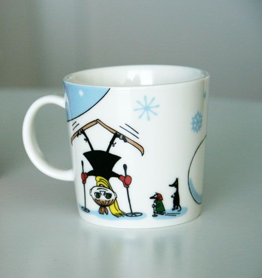 My favorite Moomin mug with Pikku Myy skiing.