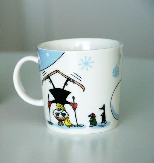 My favorite Moomin mug with Pikku Myy skiing.