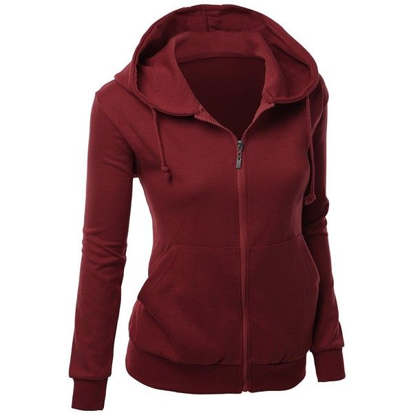 Xpril Women's Basic Hoodie zip up sweater with Side Kangaroo front... ($21) ❤ liked on Polyvore featuring tops, hoodies, hooded pullover, hooded sweatshirt, red hoodie, zip up hooded sweatshirt and sweatshirts hoodies