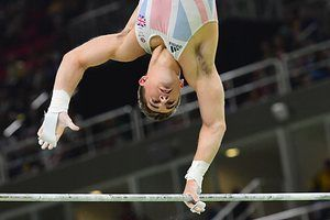 Team GB's Max Whitlock on his way to third place in the men's gymnastics.