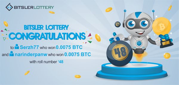 Congratulations to everyone who won the lottery with a shared prize of 0.015 BTC ($221) 😄 The next one will take place @ btslr.co/WNrKx  #winners #BTC #LTC #ETH #BURST #DOGE -- bitsler.com