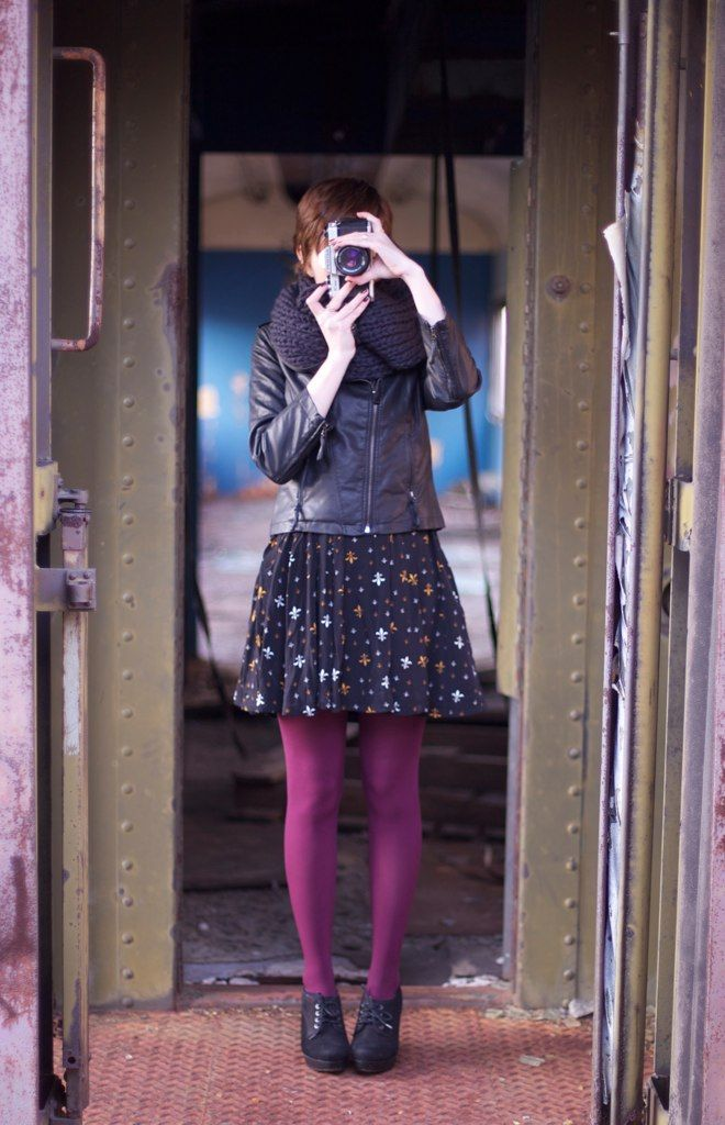 Leather jacket, purple tights, flirty dress.