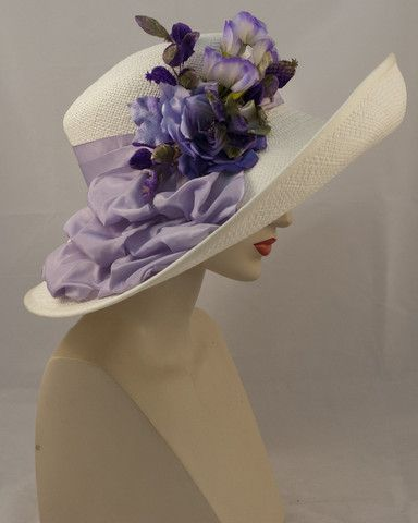 Louise Green hat Santa Barbara, Panama straw, off white with purple – Louise Green Millinery