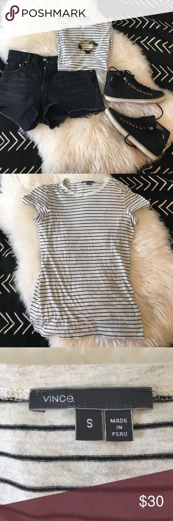 🎊 SALE 🎊 Vince striped tee Cream and black striped tee. Pictured with Levi's 501 shorts, Tretorn GORTEX high tops and NWT Vince Camuto black bow bracelet. Vince Tops Tees - Short Sleeve