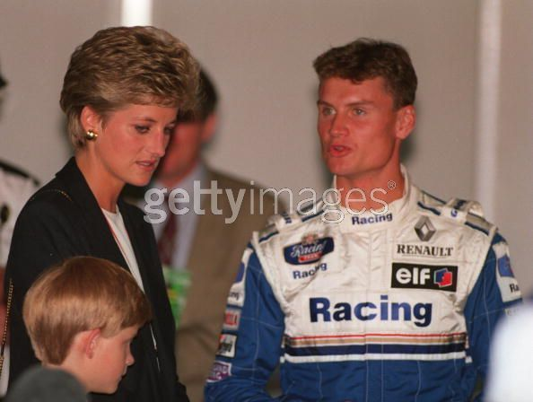 WILLIAMS DRIVER DAVID COULTHARD OF GREAT BRITAIN SPEAKS WITH HRH PRINCESS DIANA AS SHE VISITS THE PITS WITH HER SONS BEFORE THE START OF THE BRITISH GRAND PRIX AT SILVERSTONE