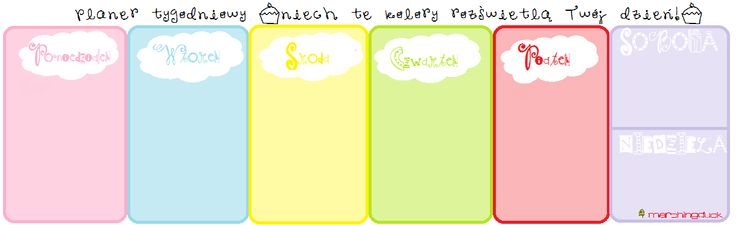 Weekly planner - bright colours polish version