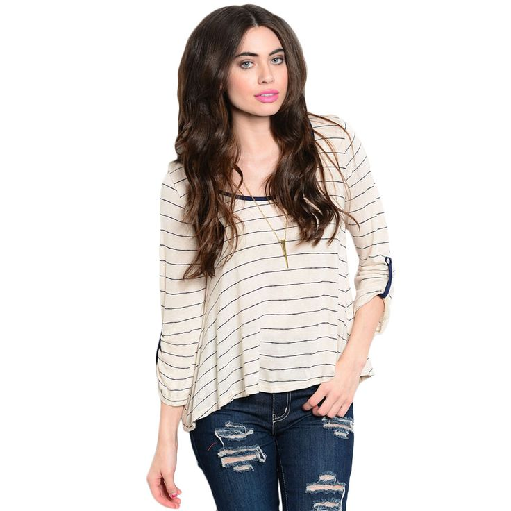 Shop The Trends Women's 3/4 Sleeve Nautical Stripes Tee