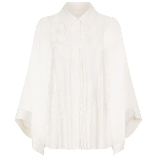 Chloé Pleated Blouse with Sheer Bell Sleeves (€2.450) ❤ liked on Polyvore featuring tops, blouses, flared sleeve blouse, see through blouse, summer blouses, crepe blouse and bell sleeve blouse