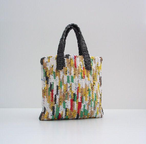 Bolsas OOAK Listra multicolorido amigável de Eco Malha de plástico, bolsa, saco de Verão, Bolsa de Praia