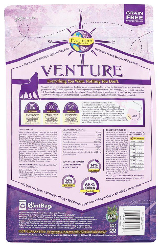 Earthborn Holistic Venture Dog Food Squid Chickpea 4lb Bag A Lot