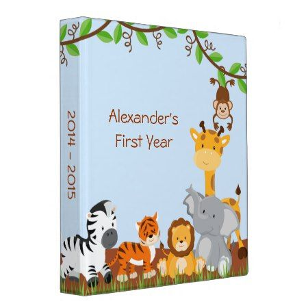 Cute Safari Jungle Animal Baby Boy Photo Album 3 Ring Binder - tap to personalize and get yours