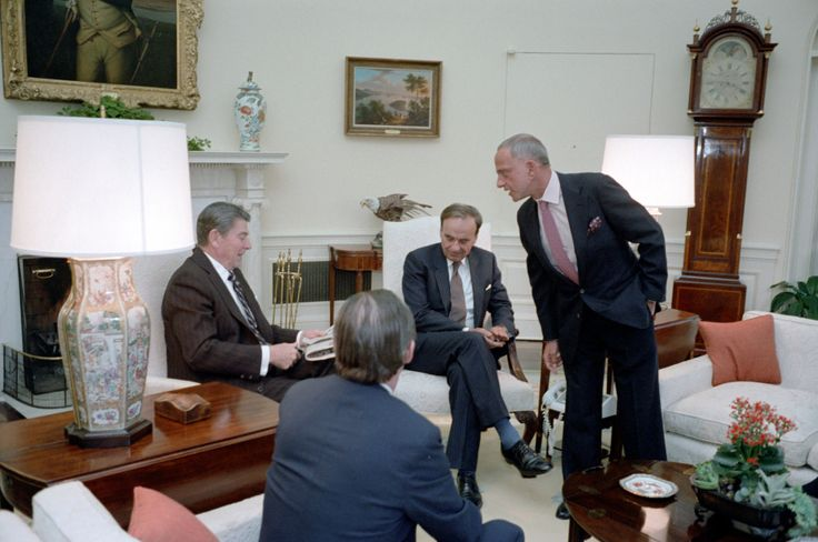 Rupert Murdoch: Propaganda Recruit President Reagan meets with publisher Rupert Murdoch, U.S. Information Agency Director Charles Wick, lawyers Roy Cohn and Thomas Bolan in the Oval Office on Jan. 18, 1983. (Photo credit: Reagan presidential library)