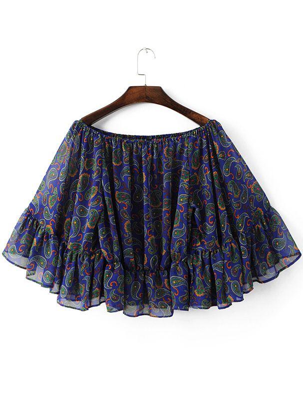 Shop Blue Boat Neck Bell Sleeve Chiffon Print Blouse online. SheIn offers Blue Boat Neck Bell Sleeve Chiffon Print Blouse & more to fit your fashionable needs.