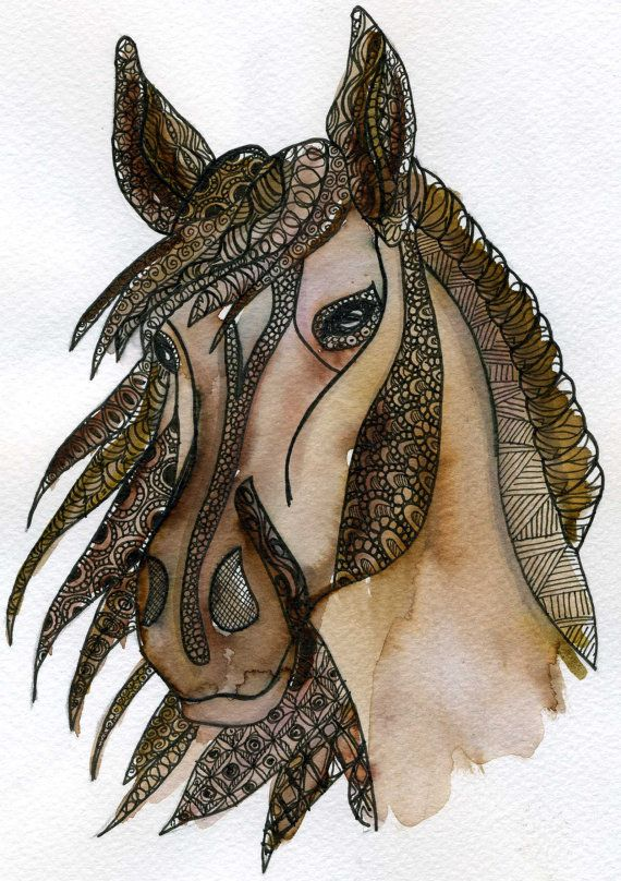 Watercolour and pen and ink drawing of a Horse, using a style called Zentangle . Size mounted 12x12in