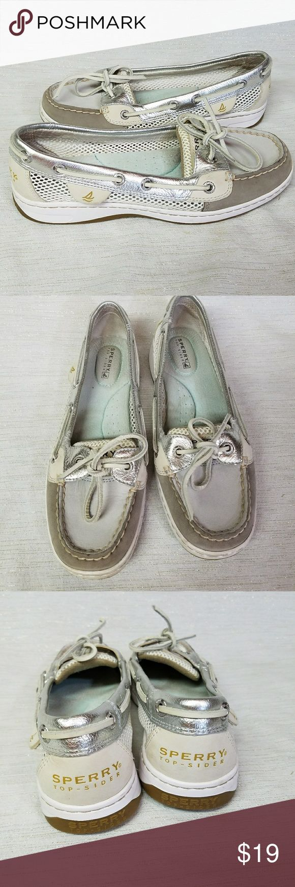 Sperry Angelfish Gray Open Mesh Boat Shoes Size 6.5. Worn on vacation,  comes with free sand! Foot imprint on insoles.  No wear minor wear elsewhere. Sperry Top-Sider Shoes