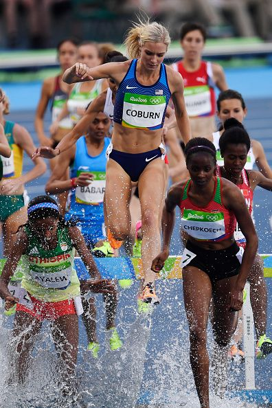 Emma Coburn of the United States competes in the women's 3000meter steeplechase…