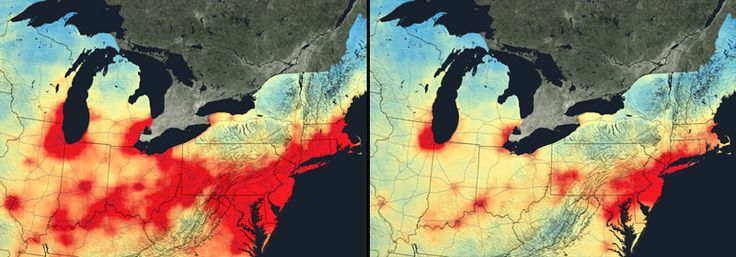 Air pollution, Northeastern US  These images, from 2005 and 2011, show that it's not all bad news. The red areas indicate levels of high nitrogen dioxide, primarily caused by vehicles and coal power plants. These vivid splashes across the map have decreased dramatically, despite higher populations and more cars on the road, thanks to new regulations, technology improvement and economic changes.