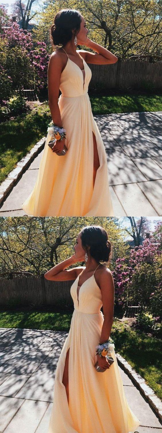 2019 Split Slit A Line Long Prom Dress, Sexy Simple Evening Dress