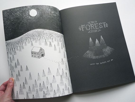 A Sigrid Rodil illustration for Tiny Pencil's forest-themed first issue.