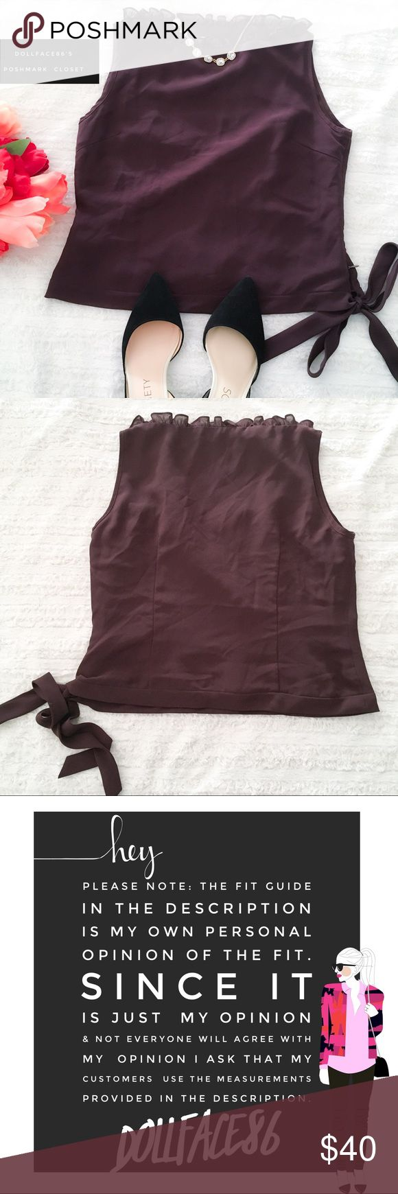 """Pretty Dark Purple Ruffle Neckline Top ✦this top has a pretty ruffle boatneck, a semi cropped waist and and pretty ribbon tie on the side✦{I am not a professional photographer, actual color of item may vary ➾slightly from pics}  ❥chest:17.5"""" ❥waist:16.5"""" ❥length:18"""" •approximate measurements taken flat ➳material/care:polyester/machine wash  ➳fit:true & slightly cropped  ➳condition:gently used   ✦20% off bundles of 3/more items ✦No Trades  ✦NO HOLDS ✦No transactions outside Poshmark  ✦No…"""