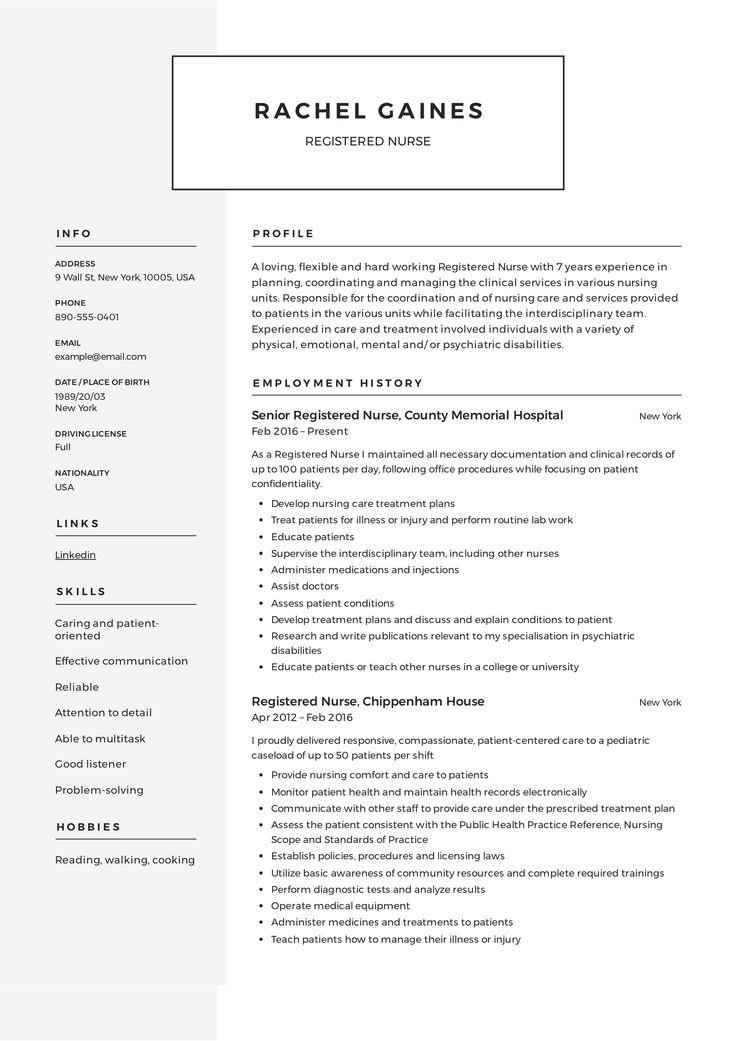 Registered Nurse Resume, template, design, tips, examples