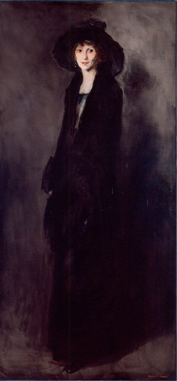 Robert Henri (American, 1865–1929) | Lady in Black Velvet (Portrait of Eulabee Dix Becker) | 1911 | Oil on canvas | 77 1/2 x 36 15/16 inches | Gift in memory of Dr. Thomas P. Hinman through exchange and general funds | 73.55