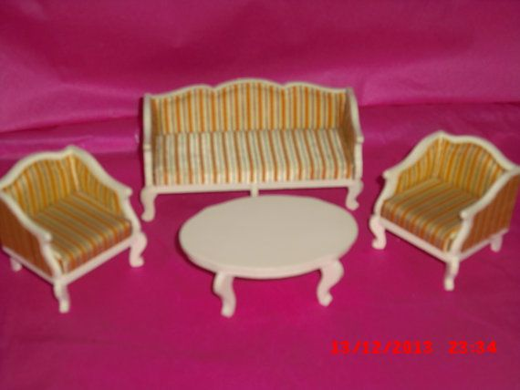 Lundby Gold stripe Lounge sofa set with by VintageLundbyLove, £12.00