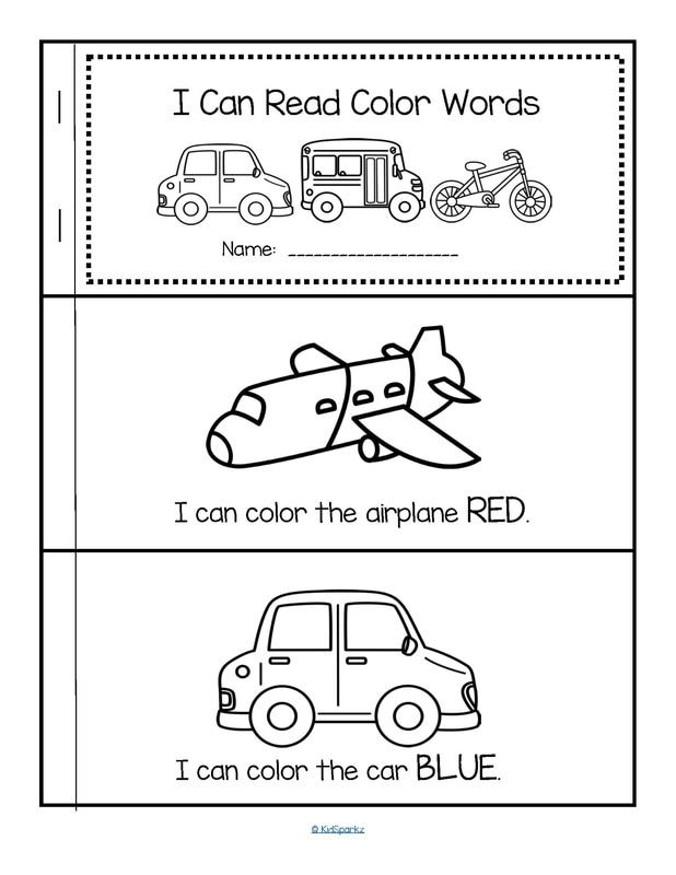 Free emergent reader to make and color - 10 color words, transportation theme.