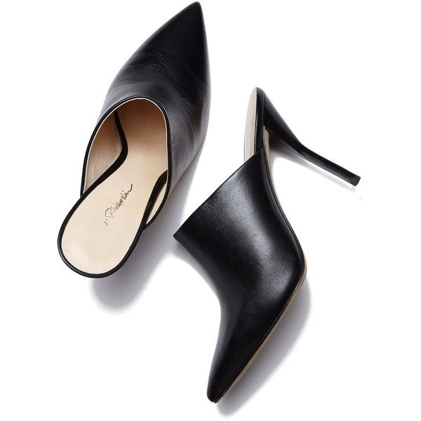 3.1 Phillip Lim Martini High Heel Mule Goop ❤ liked on Polyvore featuring shoes, black leather shoes, leather shoes, mule shoes, slingback shoes and sexy black shoes