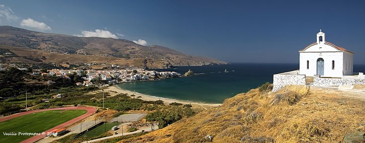 Andros is the northernmost Cycladic island and second in area after Naxos. Administratively it is a province, having three municipalities: Andros, Korthi and Idrousa. According to 1991 census the population of the island was 8781 inhabitants. Andros has an area of 374 sq. km and an elongated shape stretching from N-NW to S-SE. Whole island is mountainous, with a central range reaching its highest at Petalo and Kouvara (highest peak is Profitis Ilias, 997 m.).