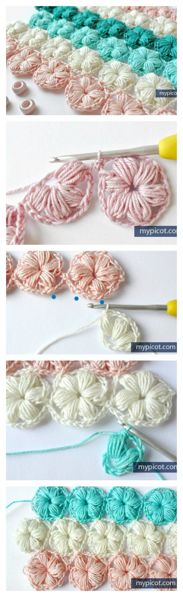 Crochet Flower Puff Stitch Free Pattern for puff stitch