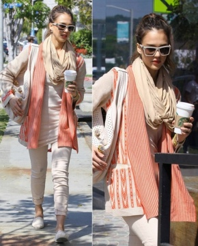 Jessica Alba on pastel colors and white-colored frames.