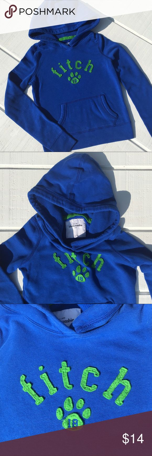 Girls Abercrombie Kids Sweatshirt Beautiful royal blue Abercrombie girls hoodie size L (8).  Soft and comfortable!  There is a small bleach mark on the hood (pictured), though can't be seen when the hood is down.  Otherwise, in EXCELLENT condition!  From a smoke and pet and smoke free home!  Bundle and save! abercrombie kids Shirts & Tops Sweatshirts & Hoodies