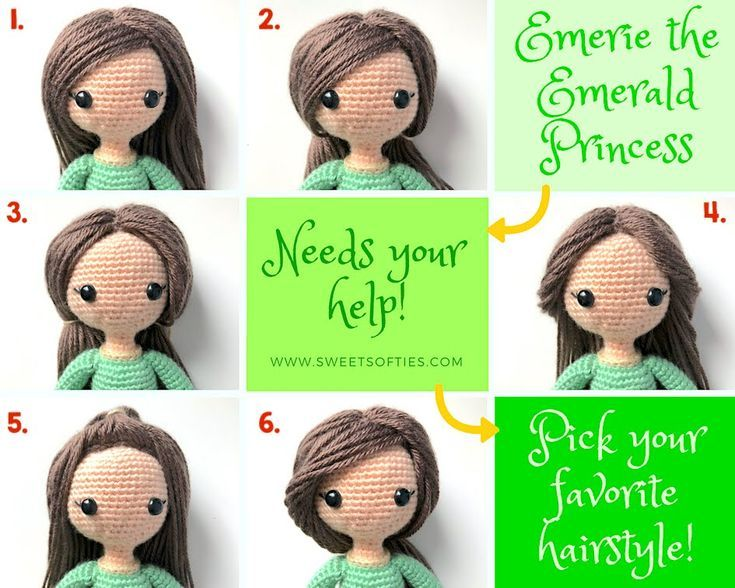 How to add Yarn Hair to Amigurumi Crochet Dolls with Hair Cap ... | 588x735