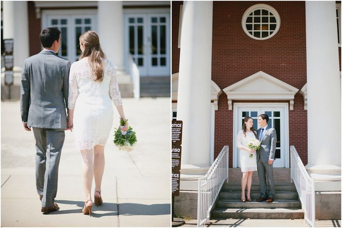This Courthouse elopement captured beautifully by Laura Fulmer Photography. See more...www.intimateweddings.com/blog  #elopement #budgetwedding
