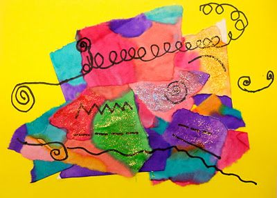 Kandinsky Inspired Collage and Line Project: