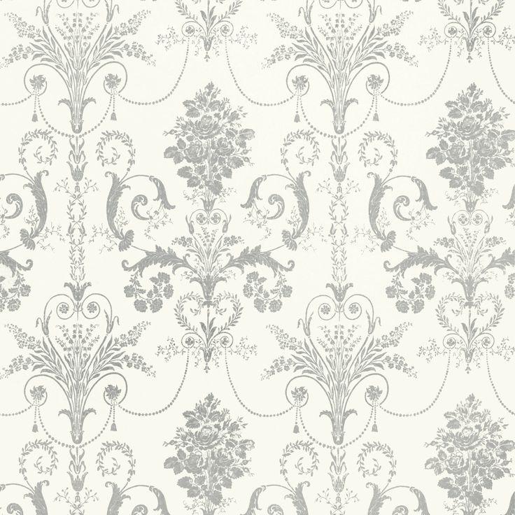 """Josette"" silver glitter wallpaper with Rococo damask flourishes from Laura Ashley."