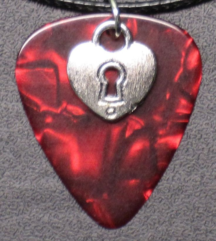 """Guitar Pick Necklace - Pearl Red With Heart Pendant - 18"""" Leather Choker #Handmade #Choker"""