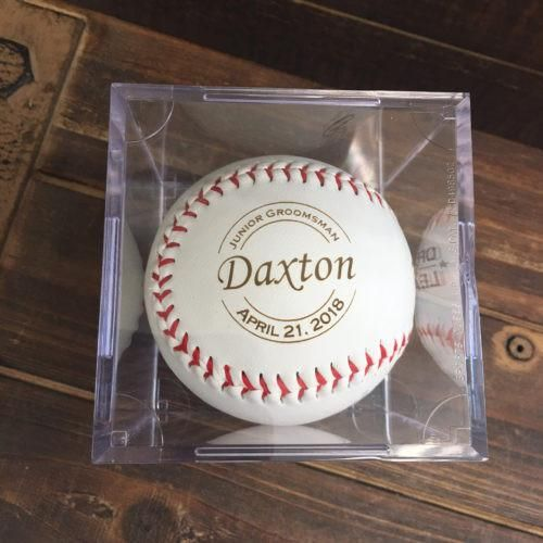 junior groomsmen gifts are not easy to find.  You want to find a gift that is both fun and memorable.  Our engraved baseballs do the trick!  The little guy will love this wedding gift and will keep it safe as a keepsake long after your wedding ends.