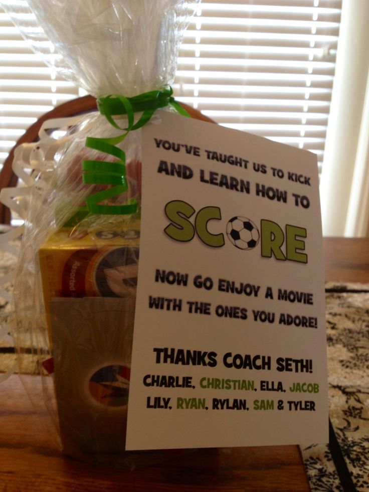 Found ideas on Pinterest and made for our Soccer Coach! Make card on computer, personalize, throw in Movie Theatre gift-card & Treats!