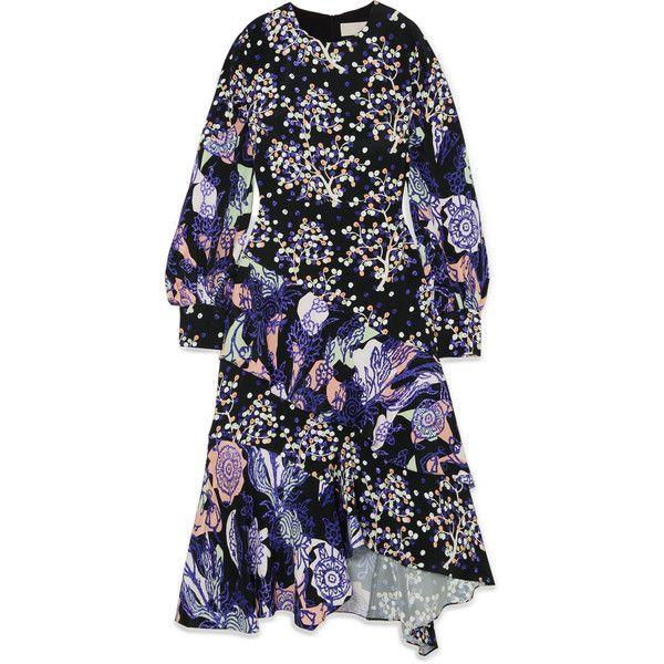 Peter PilottoAsymmetric Printed Silk Midi Dress ($1,885) ❤ liked on Polyvore featuring dresses, navy, silk print dress, pattern dress, calf length dresses, navy midi dress and star dress