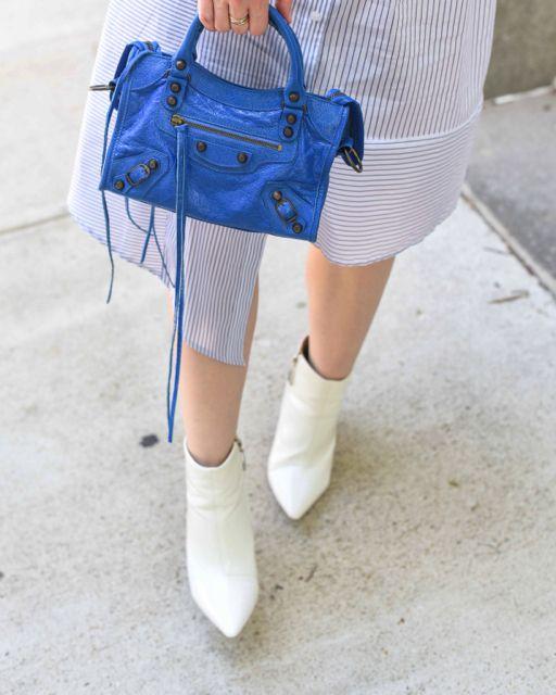 4b692251a6c8 Balenciaga Classic Nano City - shirt dress - blue bag -white boots
