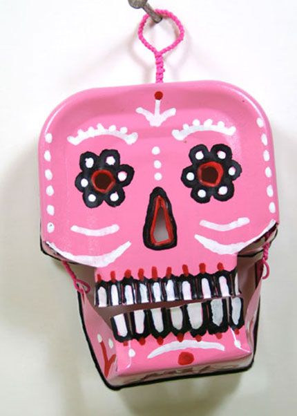 noid pink1l Sardine can portrait in metals art  with face Cans Art