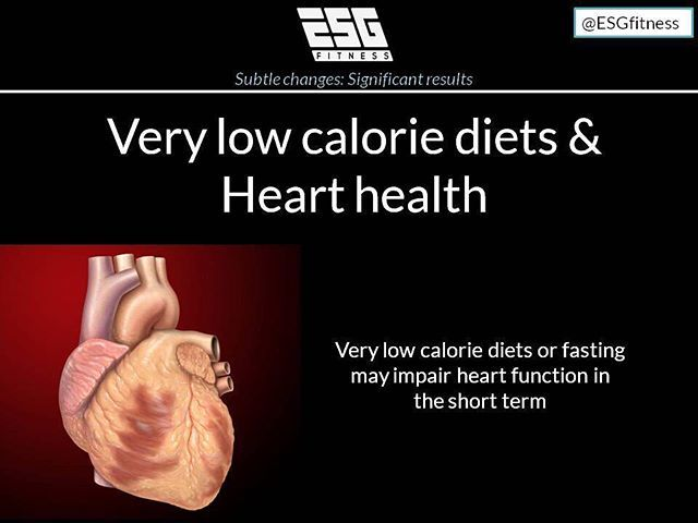 Very low calorie diets may result in reduced heart function (short term).  This should be a consideration for any trainers recommending very low calorie diets or fasting with clients who have pre existing heart conditions.  The health benefits associated with very low calorie diets in obese and type 2 diabetics are astonishing and undeniable. Within weeks patients can drastically reduce their visceral fat stores specifically the fat stored around the liver and pancreas and reverse their type…