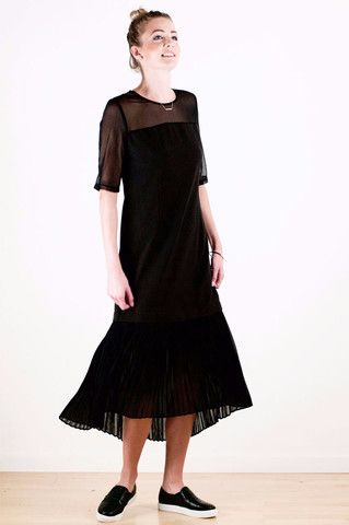 See-through Pleated Long Dress