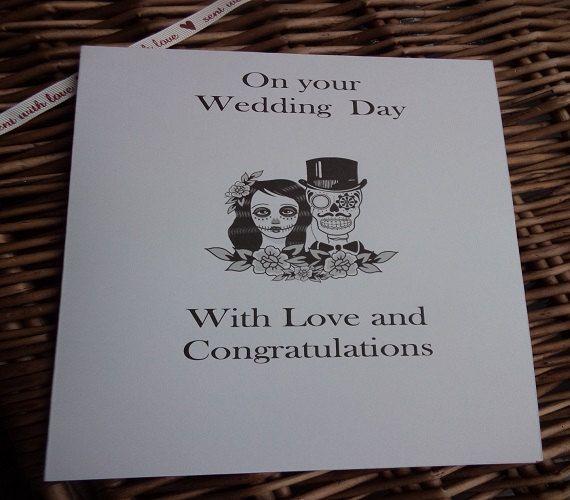 Sugar skull wedding day card Wedding day by WendysWeddingCorner