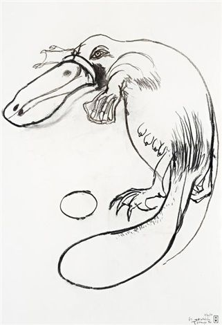 Brett Whiteley. Platypus, Tooronga Zoo , 1978. charcoal on paper. 29.7 x 20.5 in.