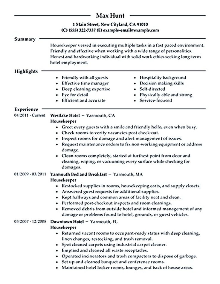 21 best Sample resume images on Pinterest Apartment design - resume examples housekeeping