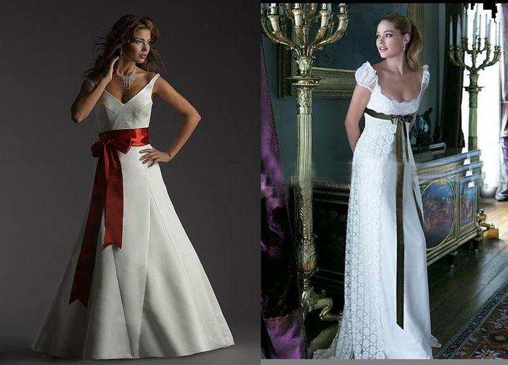 gown with sash, one on the right